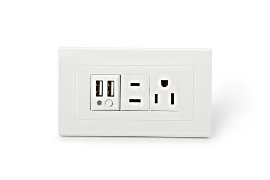 SMP5系列2孔USB+2孔市電插座-插座、開關