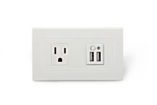 SMP5系列2孔USB與1孔市電插座-插座、開關