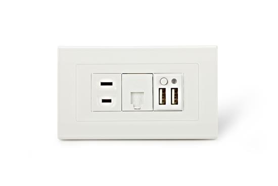 SMP5系列2孔USB+1孔市電+1孔電話插座-插座、開關